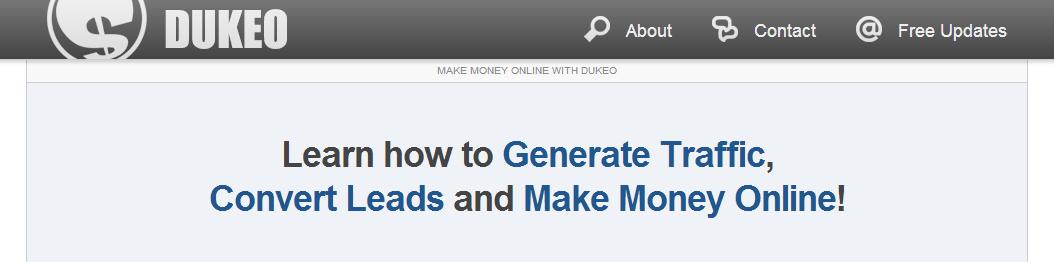Dukeo homepage screencapture