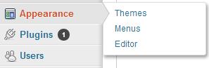 WordPress>>Appearance>>Menus