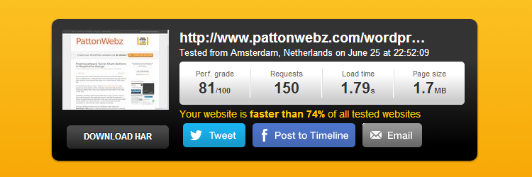 pingdom tools speedtest result for pattonwebz.com