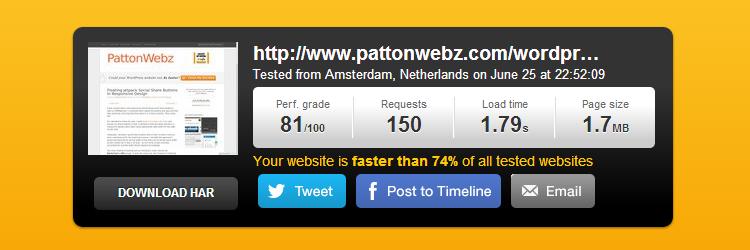 pingdom tools speedtest result for pattonwebz.com