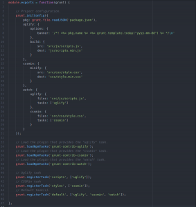 screenshot outlining a default gruntfile.js