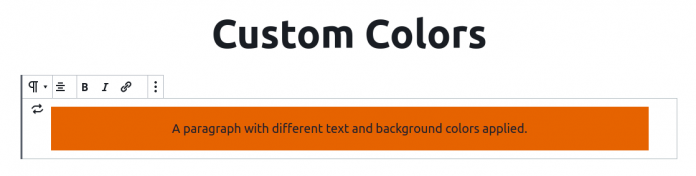 Page title followed by a paragraph in the block editor. Paragraph has a background color, text color and the text is centered.