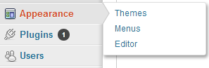 WordPress>>Appearance>>Menus