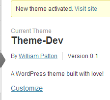 Build a WordPress theme and activate it
