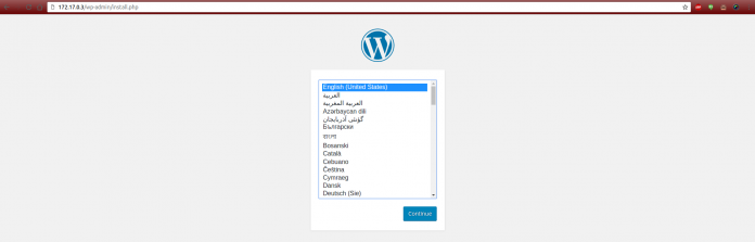 WordPress install screen on container